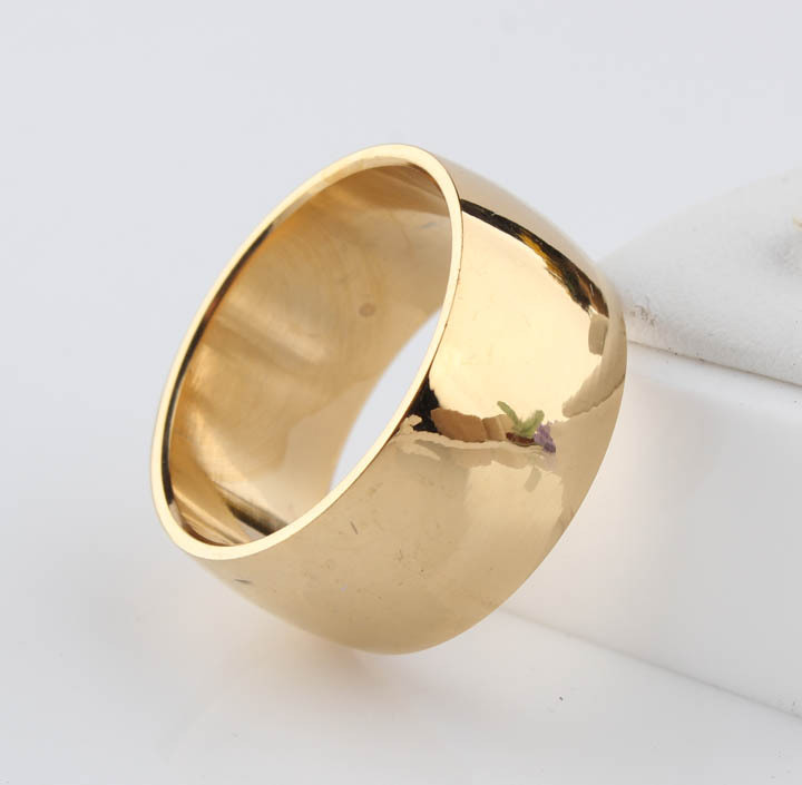 5pcs/lot 12mm No fading 24k Classic Engage Wedding rings 1.2CM Yellow Gold rings filled 316L steel rings for men and women(China (Mainland))