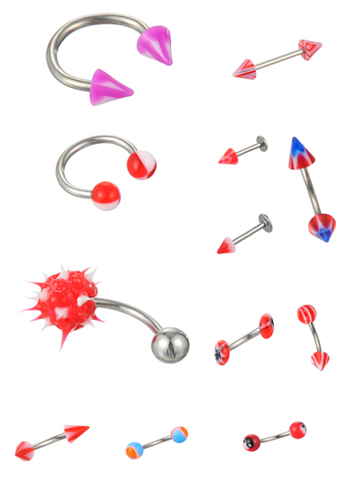 Chic Wholesale body jewelry 12style 60X Ear belly eyebrow tongue Lip piercing barbell stainless steel & arcylic piercing Free(China (Mainland))