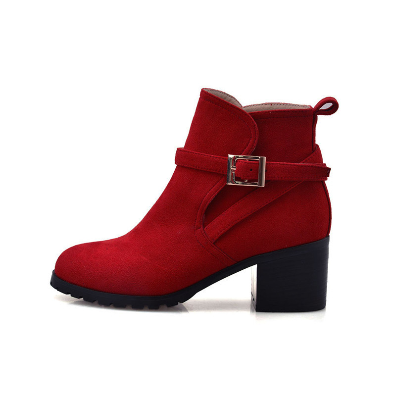 Red Chunky Boots Belt Buckle Slip-On Women Boots Genuine Leather Fashion Black Ankle Boots Round Toe Red Chunky Boots Size 4-9.5(China (Mainland))