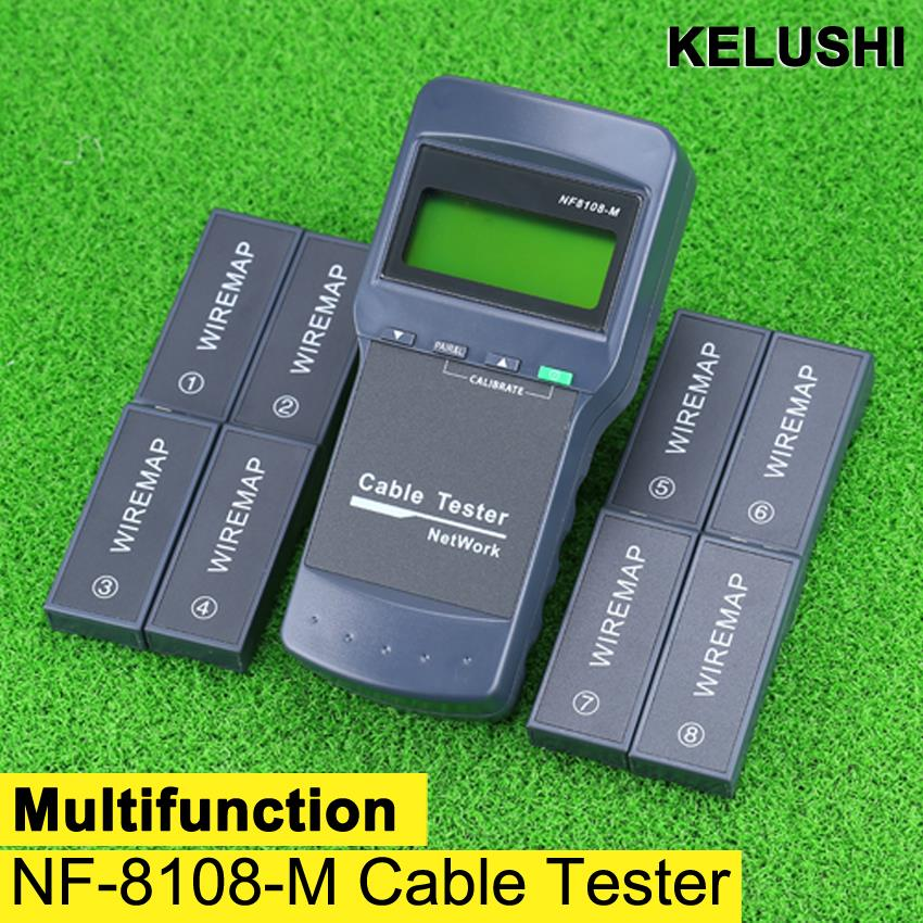 KELUSHI Multifunction Network LAN Phone Cable Tester Meter Cat5 RJ45 Mapper 8 pc Far Test Jack English operation fast shipping(China (Mainland))
