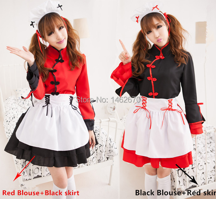 Kimono/Chinese Lolita Style Maidservant Waitress cosplay costumes Fancy dress free shipping(China (Mainland))