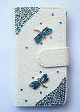 Crystal Dragonfly Wallet Card Holder PU Leather Flip Case Cover for galaxy i9050(China (Mainland))