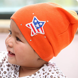 2013 spring five-pointed star baby hat male hat pins infant boy hat spring