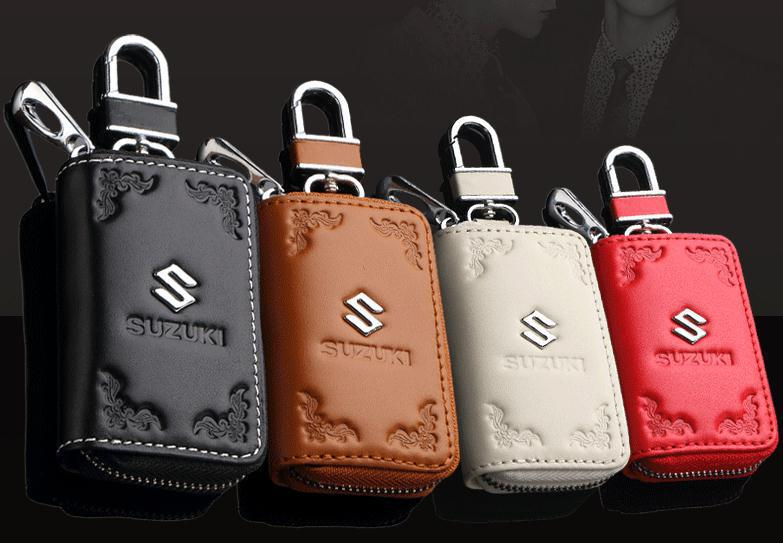 4 Color Carve patterns leather car key case For SUZUKI Swift Alto Splash SX4 Jimny Kizashi Wagon R Grand Vitara Lapin Solio(China (Mainland))