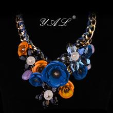 Statement Necklaces Pendants Hot Sale Transparent Big Resin Crystal Flower Vintage Choker long Necklace women Fashion