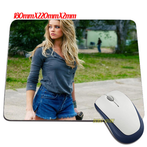 New mat Luxury Amber Heard Drive Angry actress blondes celebrity wallpaper Mouse Mats Anti-Slip Rectangle Mouse Pad(China (Mainland))