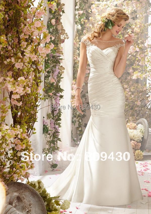 Cheap beach wedding dress cap sleeve sheer tulle Low back Sweep train destination bride gown - Bride&Fashion Wedding Dress Boutique store