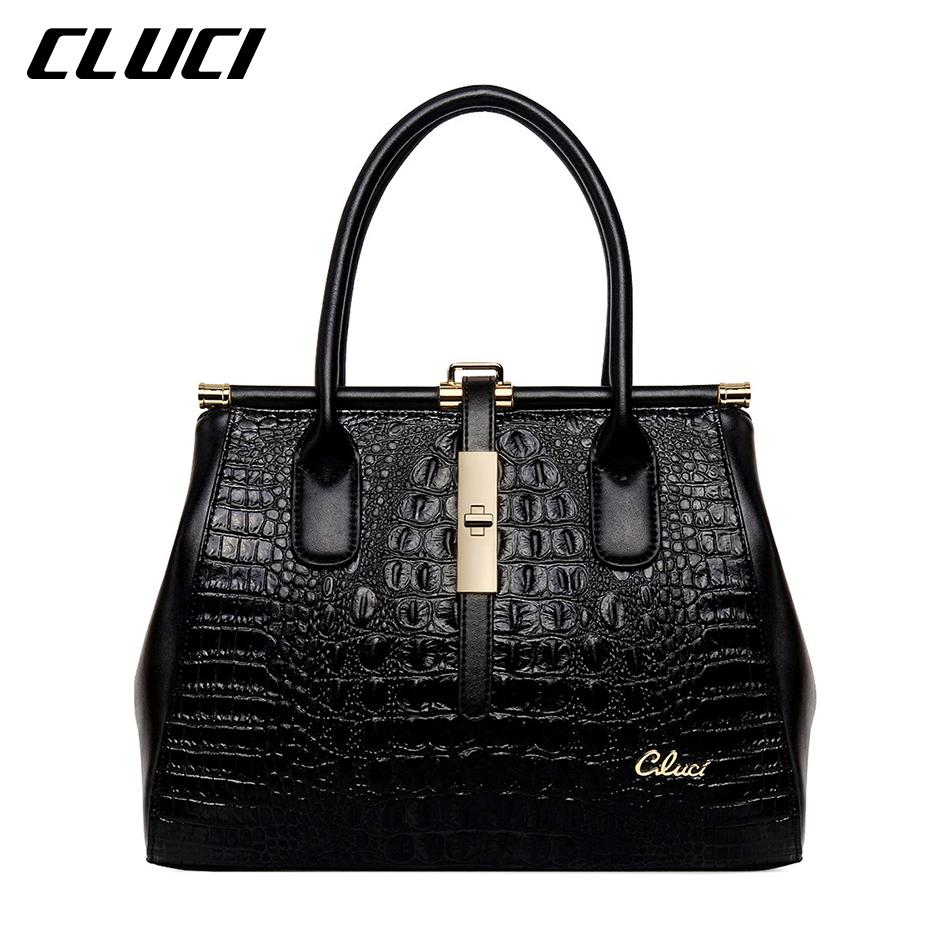 CLUCI Ladies Casual Tote Handbags Zipper Genuine Leather Medium Alligator Latest Handbags Women Designer Handbags High Quality<br><br>Aliexpress