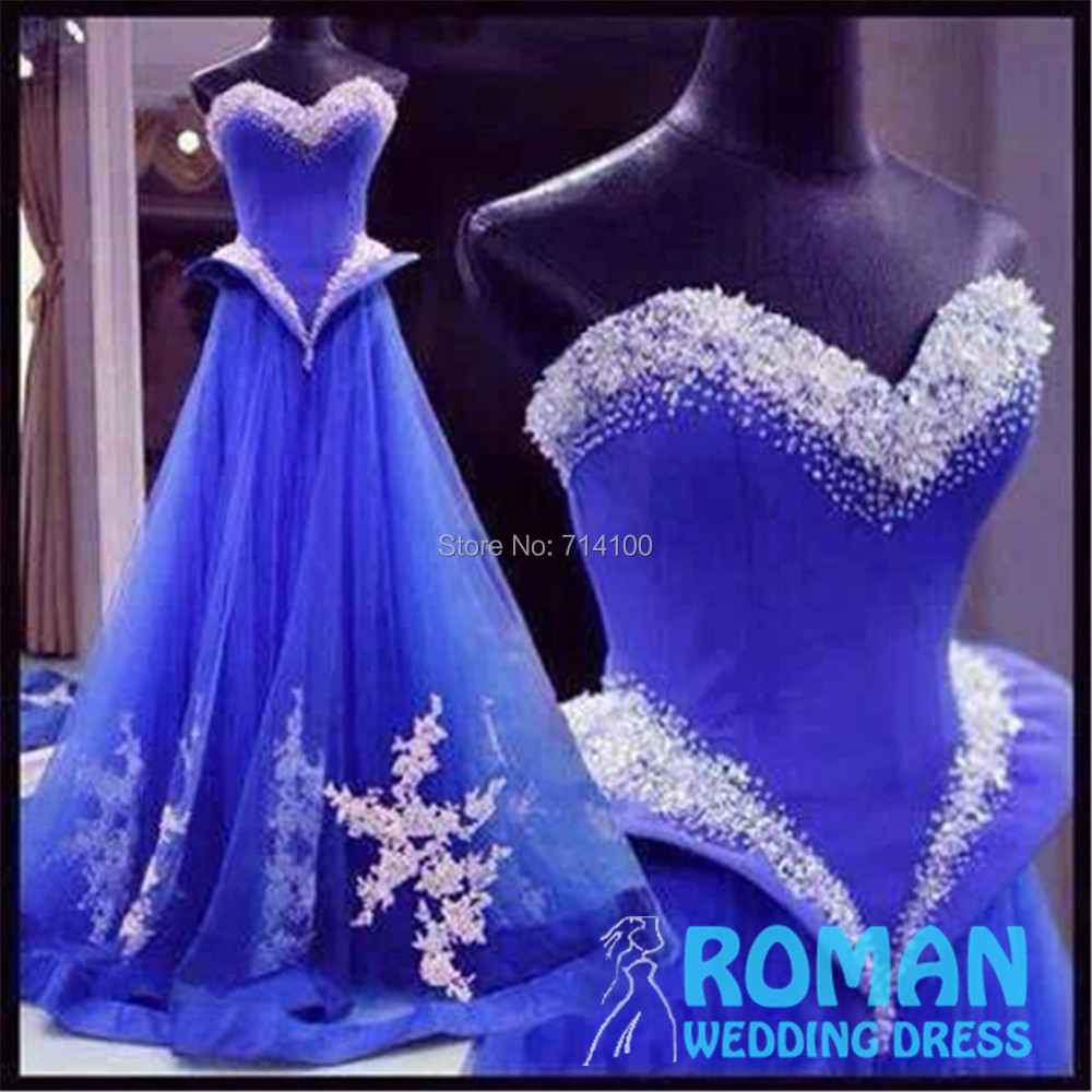 Bright Blue Tulle line Pleat White Corset Satin Lace Appliques Beaded Edge Sweetheart Shoulder Prom Dresses 2015 - Sheepherder Store store