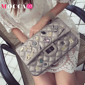 2016 Classic Badge New Brand Bag Korean Small Square Metal Classic Tortoiseshell Bag Diamond Lattice Chain Cluthes Messenger Bag