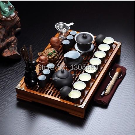 Здесь можно купить  2014 newly listed Chinese kung fu tea set zisha purple clay tea pot gaiwan tea cup filter net solid wood tea tray table on sales  Дом и Сад