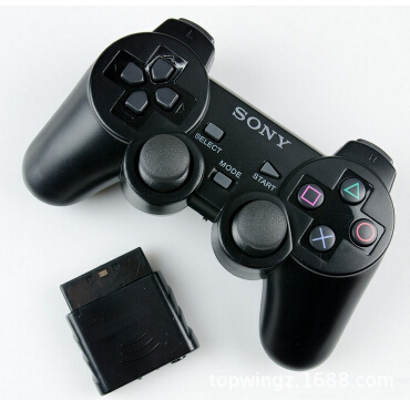 2 pcs black color 2.4G wireless controller for ps2 wireless controller joypad(China (Mainland))