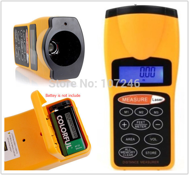 Handheld LCD Digital Ultrasonic Infrared Distance Meter Area Volum Measure Diastimeter 3 Mode Laser Designator Pointer 0.45-18M(China (Mainland))