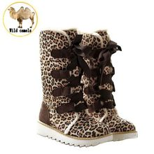 2015 Winter Women Leopard Warm Lace Up Boots Woman Fashion Plush Fur Flat Heels Platform Snow Boots Ladies Motorcycle Shoes Sale(China (Mainland))