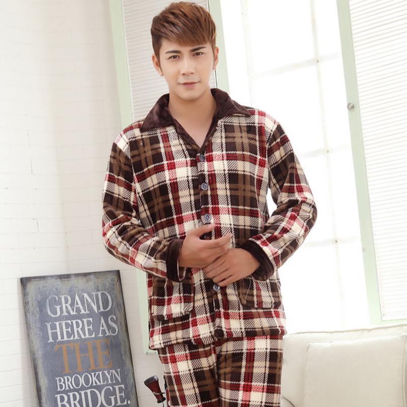 Mens autumn and winter thick coral velvet mink cashmere suit the new fertilizer to increase code flannel pajamas tracksuit 3XLОдежда и ак�е��уары<br><br><br>Aliexpress