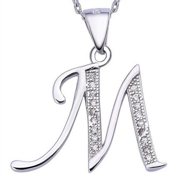 Mother's Day gift christmas charms 925 sterling silver initial letter M pendant jewelry (NM)(China (Mainland))