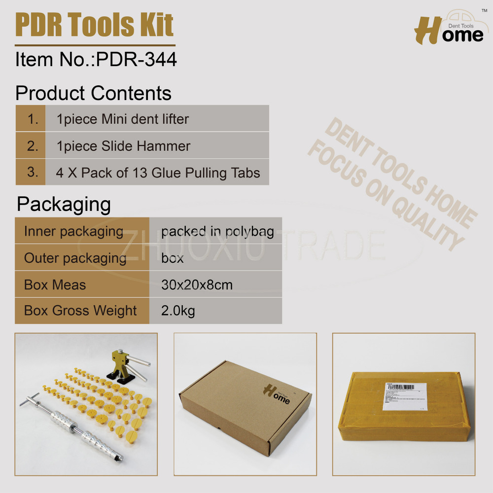 PDR auto car paintless dent removal repair tools kit with glue puller(PDR-344)