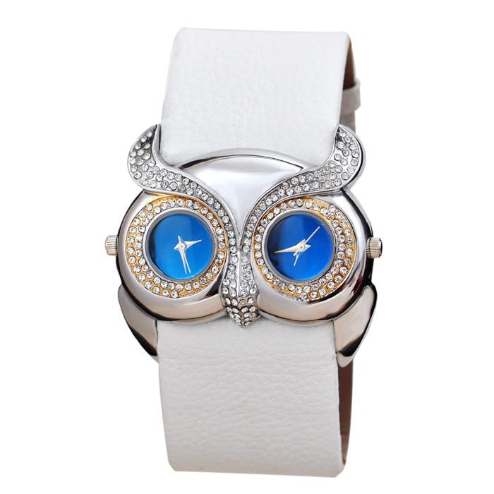 2015 New Hot Bardian Women Watch Fashione Leather Watchband Owl 2 Blue Eye Laday Wristwatch Quartz Watchs(China (Mainland))