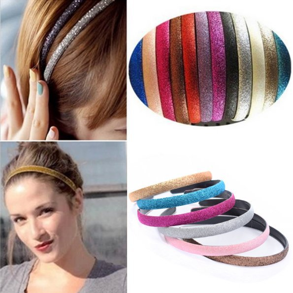 Fashion Women Hair Accessories Lady Girls Glitter Headband Sparkling Leather Plastic Hair Styling hair clips 6 Colors(China (Mainland))