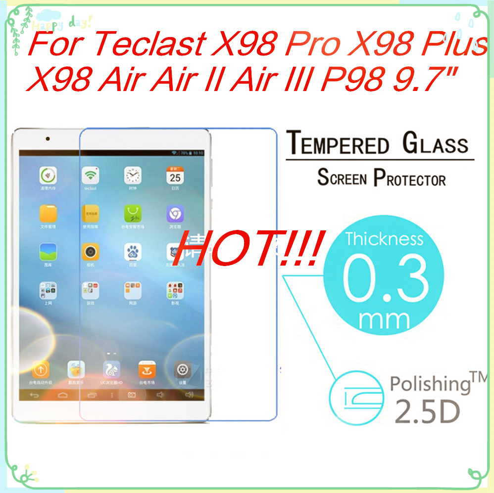 """For Teclast P98 3G Octa Core/ X98 Air 3G/ X98 Air II 9.7"""" 9H 0.3mm 2.5D Tempered Glass Film Clear Tablet PC Screen Protect Cover(China (Mainland))"""