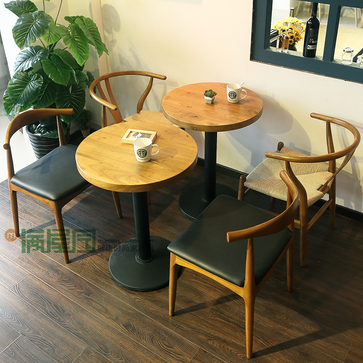 Cafe chairs meeting room tables and chairs restaurant restaurant dessert tea shop full of solid wood tables and chairs set(China (Mainland))