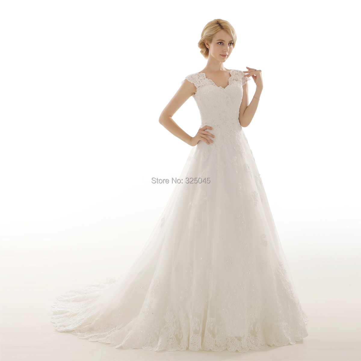 2014 A Line white ivory vestidos bridal lace short Sleeves
