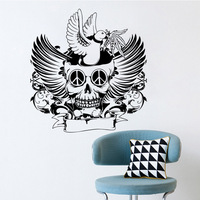 Creative Home Decor Skull Wall Sticker For Halloween Bedroom Living Room Decorative Removable Adhesive Vinyl Poster Wall Decal