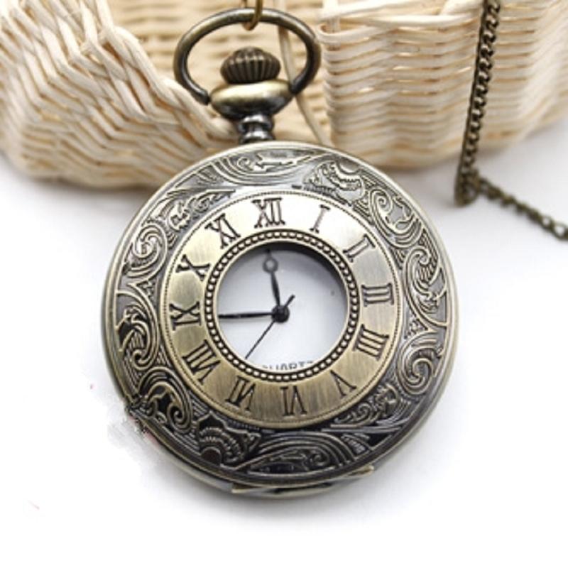 Watches Men Vintage Bronze Roma Numerals Steampunk Clock Chain Necklace Quartz Pocket Watch#48603(China (Mainland))