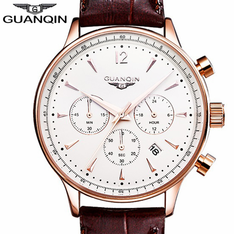 Luxury Fashion Chronograph Leather Quartz Watch Original Brand GUANQIN Sport Watches Men Casual Calendar Male Clock Waterproof(China (Mainland))