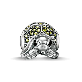 Fine jewelry handmade tortoise animal diy crystal beads silver plated charms fit for pandora bracelet for women European style
