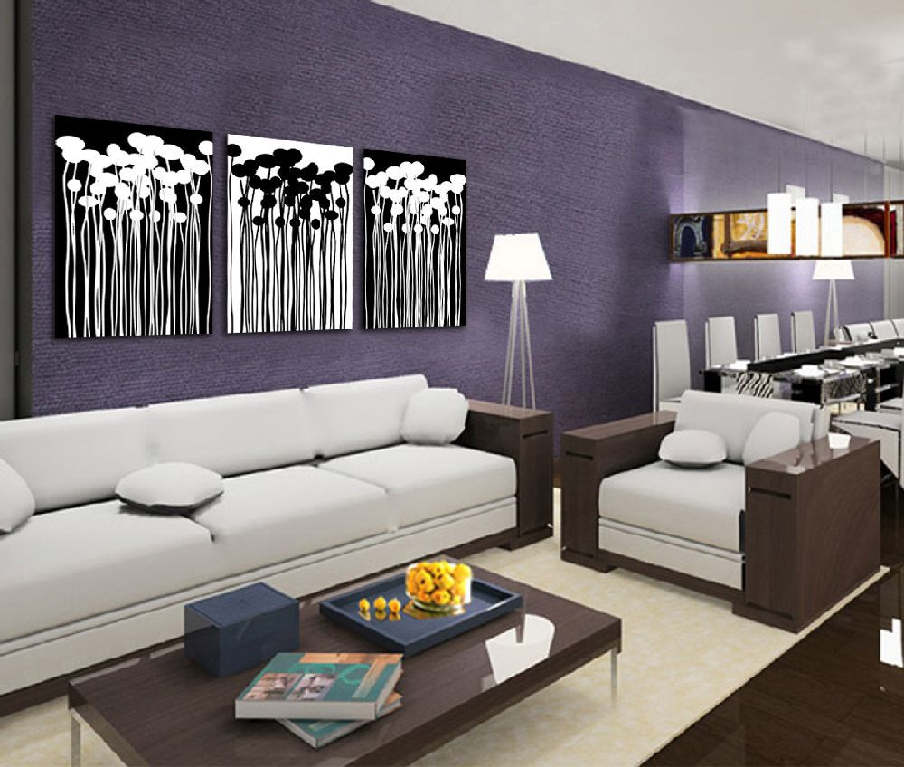 Black and white flower painting for Moderne dekorationsartikel