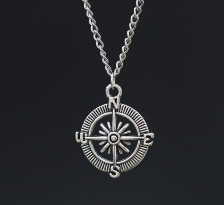 """Compass Pendant 18"""" Chain Necklace Alloy Vintage Ancient Silver Charms ~ Christmas Gift(China (Mainland))"""