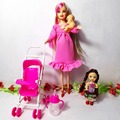2pcs/lot Astronomical telescope + Kelly doll Mini Toy for Barbie,doll Equipment Women Items Equipment Suits for 10cm Dolls