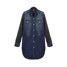 Casual Denim Shirt Women Plus Size Jeans Blouses Patchwork Tops Long sleeve Shirt Long Turn-down Collar Women's denim Clothing