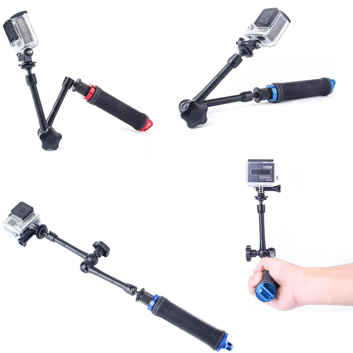 camera 3 way selfie stick 360 angle adjustable monopod with hand grip rotate arm fit for gopro. Black Bedroom Furniture Sets. Home Design Ideas