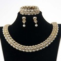 CHRAN Costume Wedding Accessories Brand Crystal Jewelry Sets Elegant Gold Color Faux Pearl Indian Bridal Jewelry
