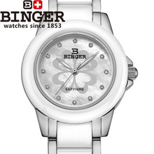 Binger New Arrival Fashion Ceramic Flower Watch For Ladies Women White Dress Wristwatch Lover Quartz 4 leaf Watches geneva
