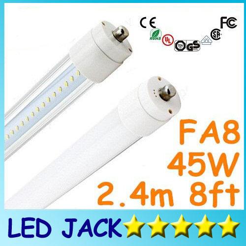 X100 FA8 single pin LED tube 2.4m 45W light lamp SMD 2835 LED fluorescent light tube T8 2400mm 8ft FA8 SMD2835 192 led AC85-265V(China (Mainland))