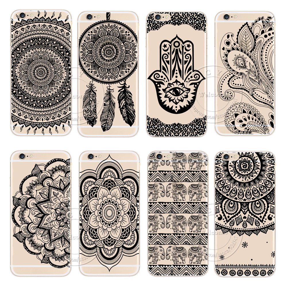 2016 New Plastic Hard Back Case Cover Apple iPhone 6 6S iPhone6 iPhone6S Black HENNA OJIBWE DREAM CATCHER Ethnic Triba - Shenzhen CY group co., LTD store