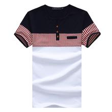 Men's Short Sleeve Striped Fashion T-Shirt Mailot Psg Usa Soccer Jersey 2016 Male 5XL Patchwork Slim Fit Tee Shirt Men(China (Mainland))