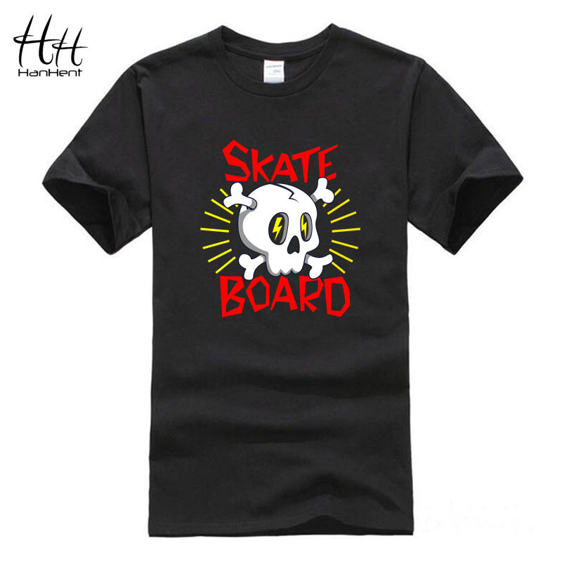 HanHent Skateboard Skull Logo Cotton T Shirts O-neck Skate Sport Top Quality Clothing 3D T-shirt Skate Board Men Novelty New Tee(China (Mainland))