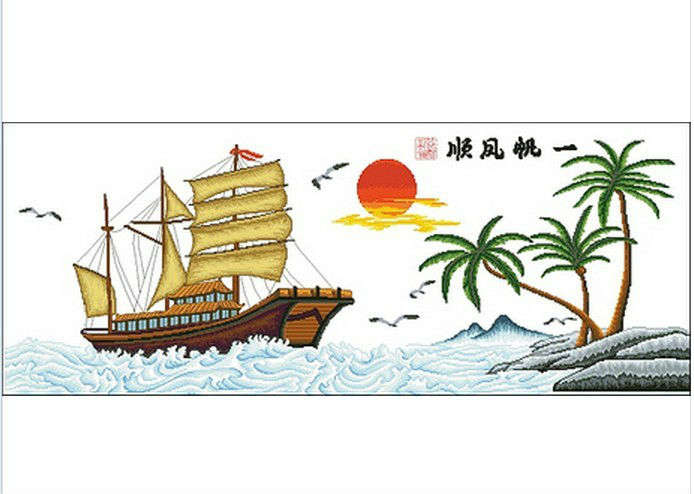 Factory Shop High Quality Cross Stitch Kits Smooth Sailing Boat Top Grade(China (Mainland))