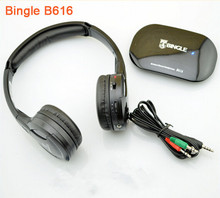 Bingle B616 Hot Selling Black 5in1 Wireless Headphone Earphone HiFi Monitor FM DJ MIC for PC TV DVD Audio Mobile Voice Chating