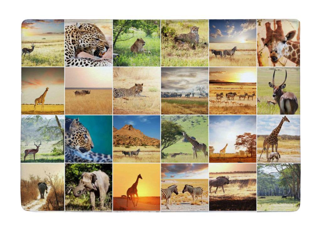 Vloermat wild dier creatieve afrikaanse print collages anti slip voor binnen buiten tapijten - Outs idee open voor levende ...