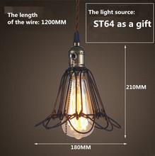 LOFT lamp  Vintage pendant  light LED light balck iron metal cage lampshade warehouse  style lighting light fixture(China (Mainland))