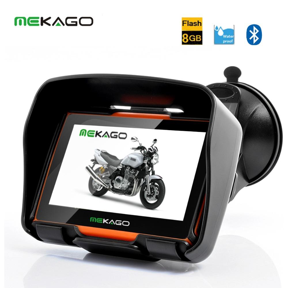 Free Shipping 4 3 Inch Motorcycle GPS Navigation System Waterproof 8GB Internal Memory Bluetooth Map