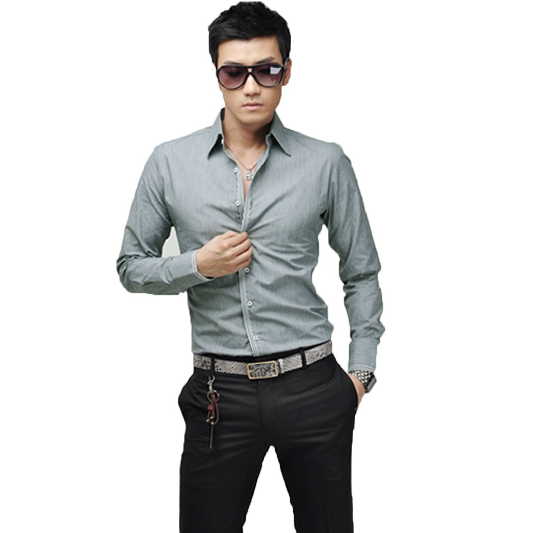 High quality 2014 spring new fashion casual slim fit long for Men s trim fit dress shirts