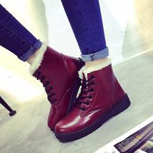 Señora de la Marca Botines Con Cordones Zapatos Planos de Las Nuevas Mujeres de Otoño Invierno Plataforma Punta redonda Martin Botas de Chica de Moda Al Aire Libre Botas de Algodón 30(China (Mainland))
