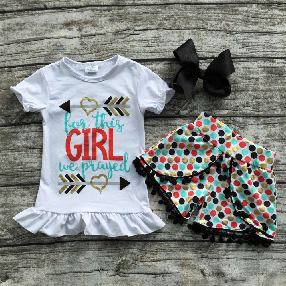 2016 free shipping summer girls boutique love this girl clothing colorful polka plaid dot shorts outfit with matching bow set(China (Mainland))