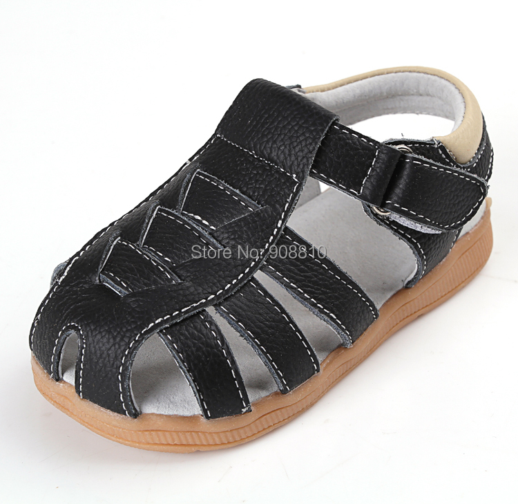 SandQ baby boy sandals genuine leather soft new summer for bebe meninas meninos first walker shoes black cinnamon for bare feet(China (Mainland))